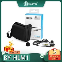 BOYA BY-HLM1 Wearable Pin Microphone Omnidirection Conderser Lavalier Mic 3.5mm Plug for Canon Nikon Sony Panasonic DSLR Camera boya by m1 m1dm by mm1 dual omni directional lavalier microphone short gun video mic for canon nikon iphone smartphones camera