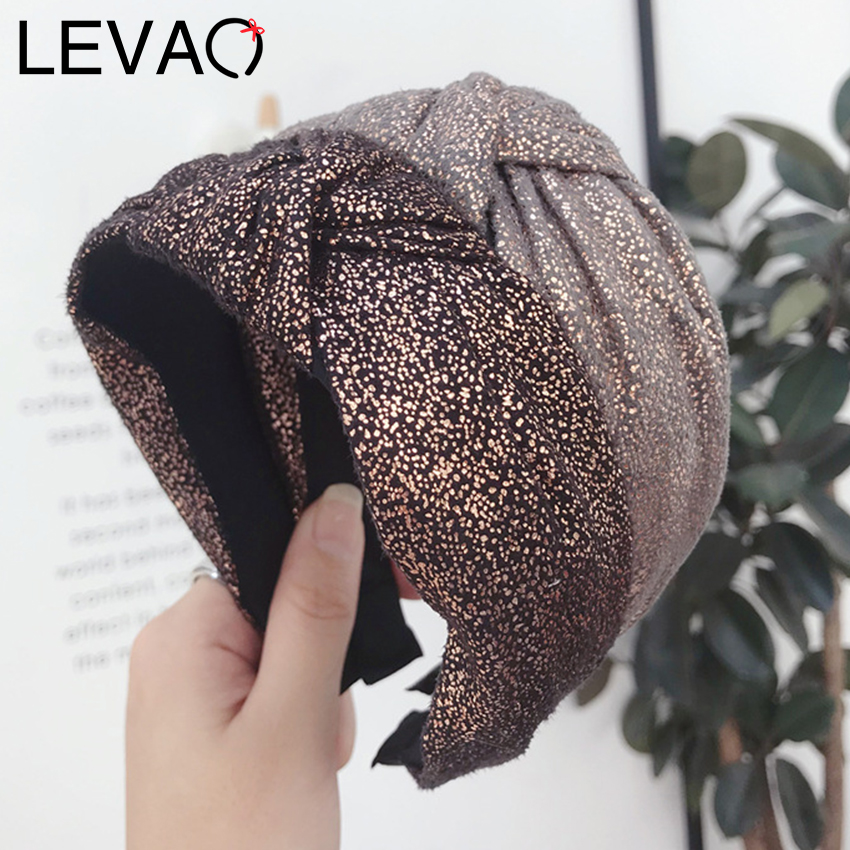 Levao Female Bronzing Fabric Hairbands Middle Knot Twisted Headband Bow Head Band Women Wide Side Hair Hoop Hair Accessories