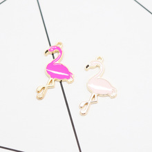 Enamel Flamingo  Charms  for Jewelry Making Cute Earring Pendant Bracelet Necklace Charms Diy Design Charms 10pcs cute enamel strawberry charms pendants for jewelry making earring bracelet necklace fashion fruit charm diy accessories