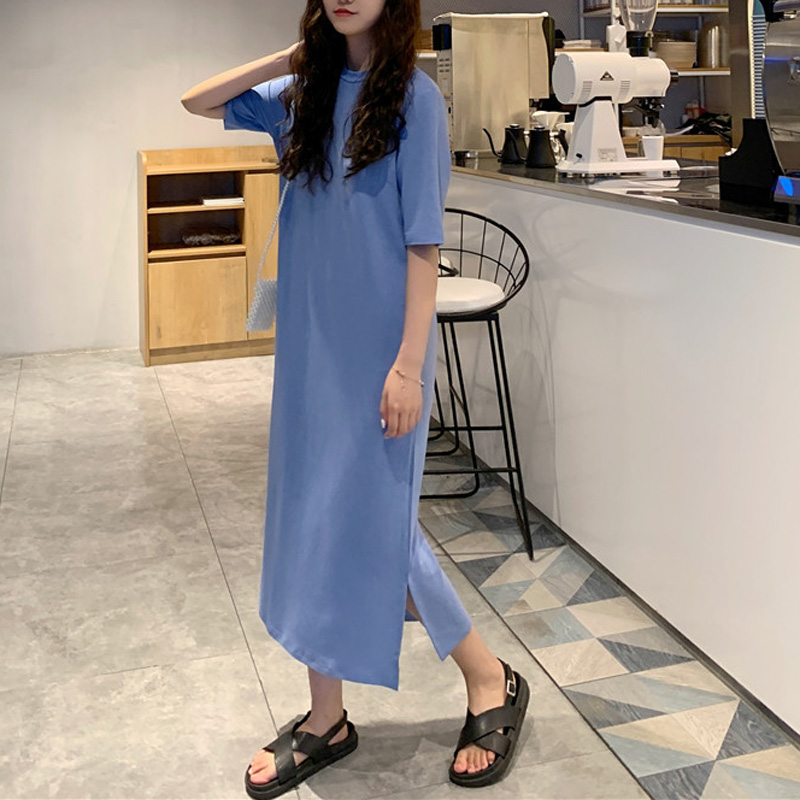T Shirt Dress Women Summer Casual Loose Dresses Short Sleeve O Neck Tunic Long Maxi Side Slit Solid Color Dress Oversize Clothes