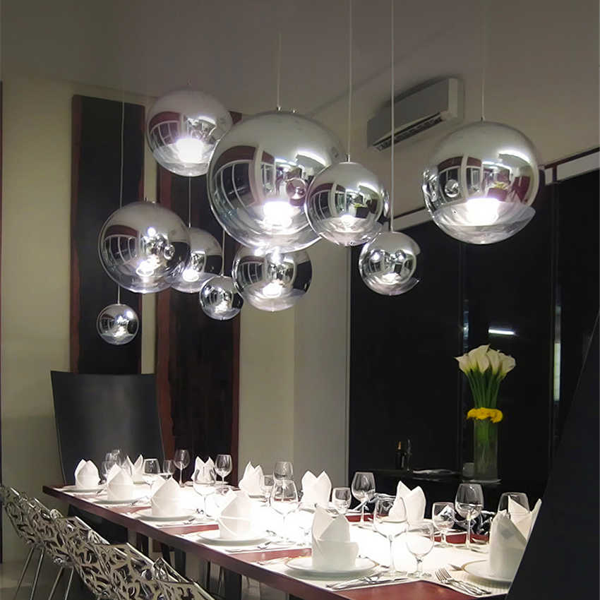 Silber Glas Ball Glanz Anhänger Lichter LOFT Moderne LED Anhänger Lampe Beleuchtung Bar Industrie Beleuchtung Hängen Leuchte E27