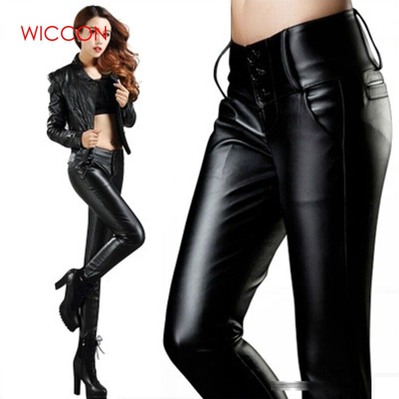 2019 Women Winter Warm Faux Leather   Pants     Capris   PU Elastic High Waist Stretch Straight Long   Pants   Women PU   Pants