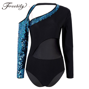 Image 1 - Women Shiny Sequins Long Sleeves Mesh Splice Ballet Gymnastics Leotard Ballerina Rave Stage Performance Lyrical Dance Costumes