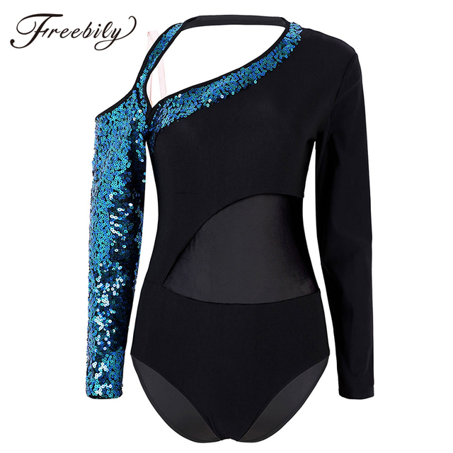 Women Shiny Sequins Long Sleeves Mesh Splice Ballet Gymnastics Leotard Ballerina Rave Stage Performance Lyrical Dance Costumes