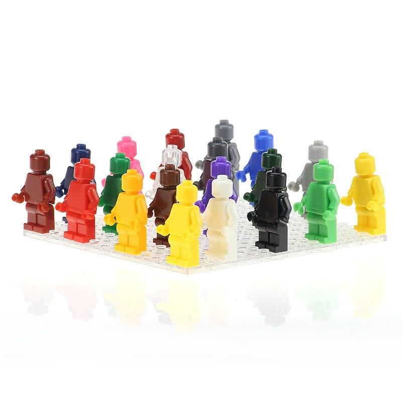 24PCS/LOT Blank Unprinted Pure Moulding Bricks Monochrome Figures Plain Color Building Blocks Legoe Minifigured Kids Gift Toys