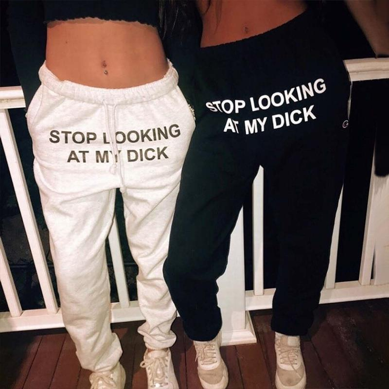 Sweat Pant Letter Print Pantalon Mujer Cotton Joggers Women High Waist Black Casual Trouser Hip Hop Funny Sweatpants Loose Femme 3