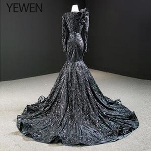 Image 4 - Dubai Nero O Collo Manica Lunga Abiti Da Sera 2020 Della Sirena di Paillettes Bordare di Lusso del Vestito Convenzionale YEWEN 67116