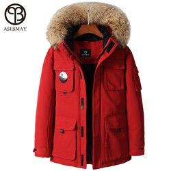 Asesmay marke 2019 männer mode winter jacke stilvolle herren winter mantel parka jacke dicke warme gans feder mit kapuze pelz oberbekleidung