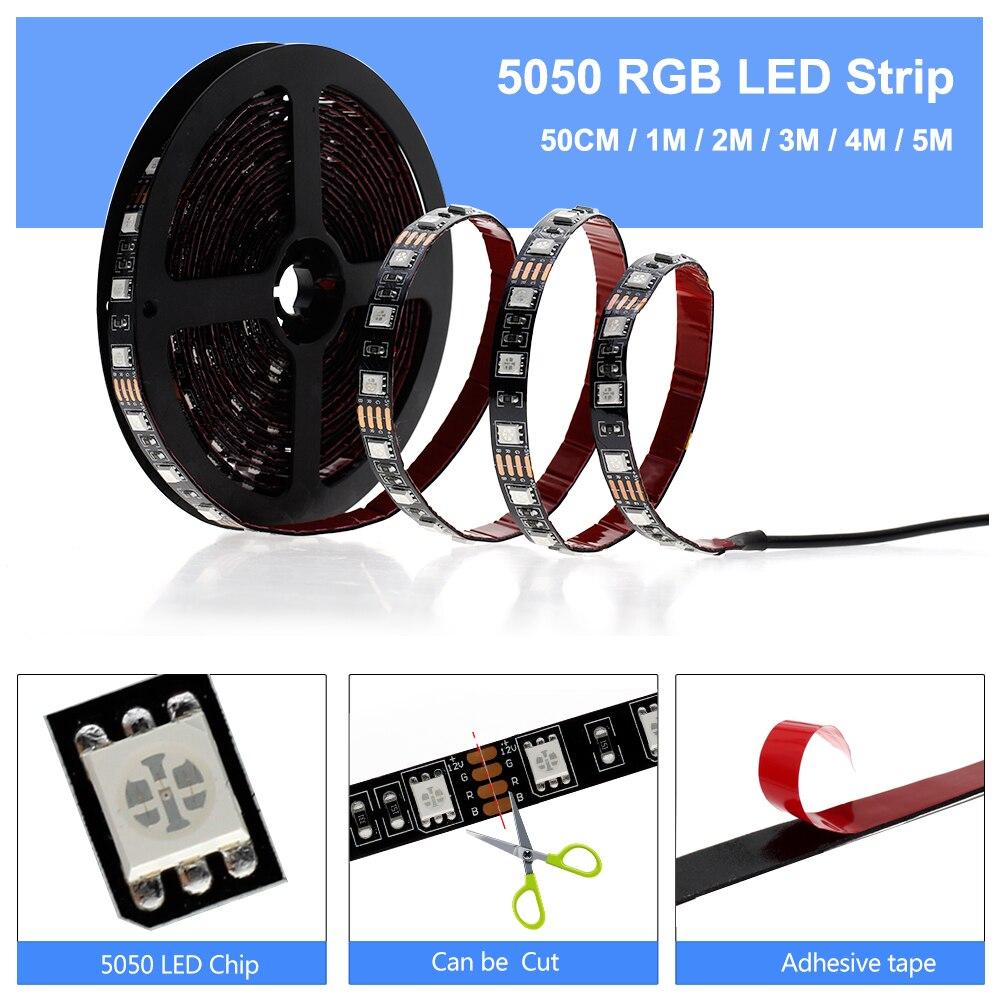 Image 4 - LED USB lumière de bande 5050 RGB changeable Diode Bande 5V 50CM 1M 2M 3M 4M 5M DIY flexible RGB LED Ruban pour PC TV écran rétro éclairage    -