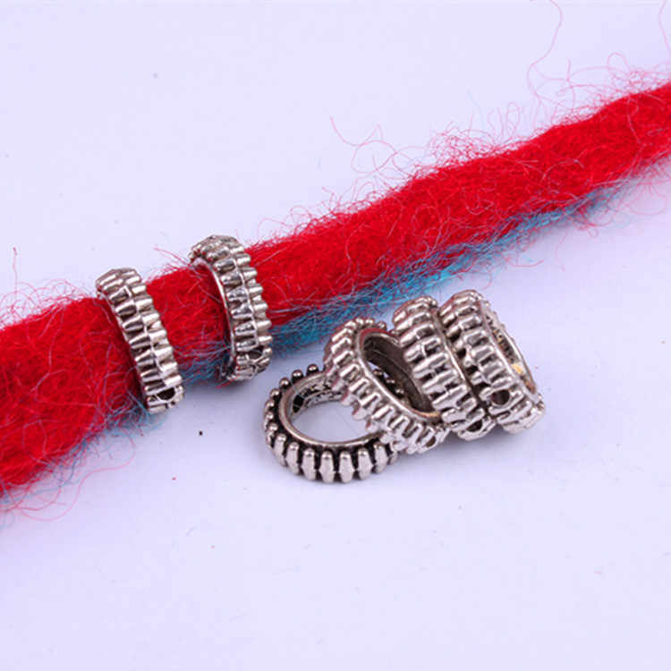 10 قطعة/الحزمة العتيقة الفضة مختلفة 15 أنماط الشعر جديلة الرهبة dreadlock الخرز خواتم أنبوب تقريبا 5.9-6.4 مللي متر الداخلية ثقب المجوهرات