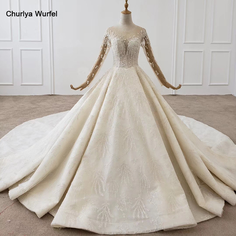 HTL1355 Wedding Dress Whole With Luxury Flower Applique Bridal Dress Long Sleeve Wedding Dress Lace Up Robe De Mariée Princesse