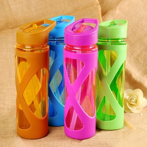 580ML Seal Straw Sports Water Bottle Non-slip Heat Resistant Plastic Protein Powder Shaker Fitness Drinkware