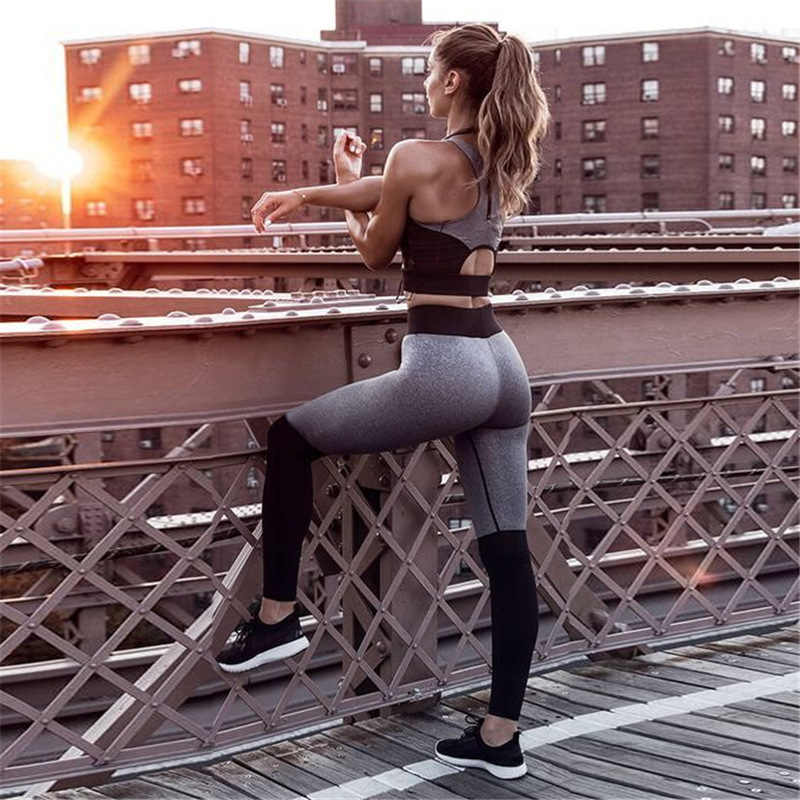 Workout Jogging Suits Women Sexy Bra Yoga Set Fitness T Shirt Tops Running Leggings Gym Compression Sport Tights Pants Tracksuit