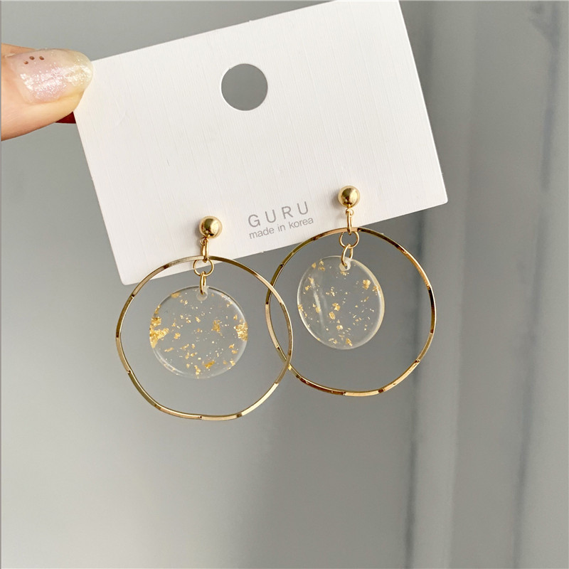 CircularTemperament Of Restoring Ancient Ways Is Fashionable Gold Geometric Wavy Circle Stud Earrings Female Gold Earrings