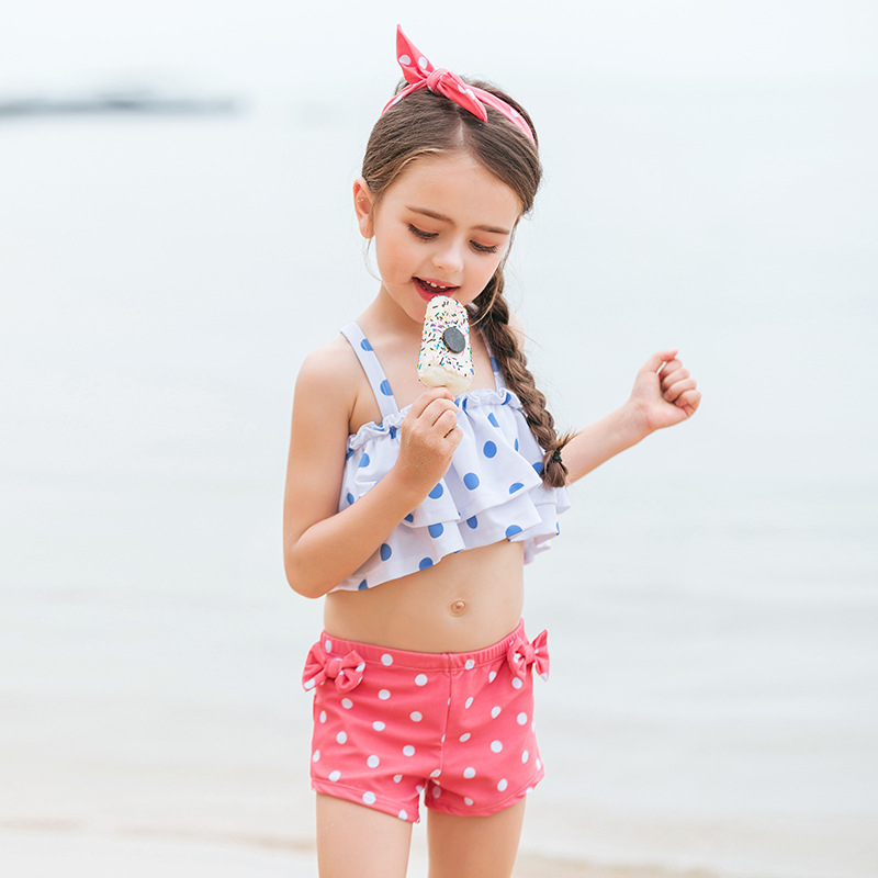 2019 Hi Fish Lotus Leaf Two-piece Swimsuits Boxers Children Swimwear Female Send Hair Band Spa Resort BEEKING Currently Availabl