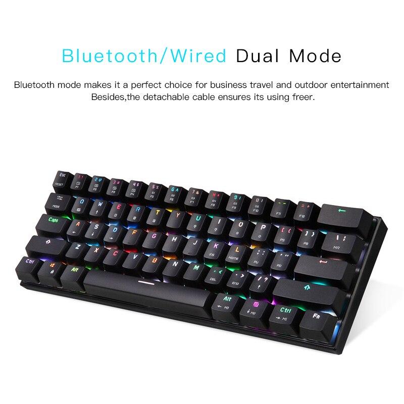 Image 5 - MOTOSPEED CK62 Keyboard Wired/Bluetooth Keyboard Dual Mode Mechanical Keyboard 61 Keys RGB LED Backlight Gaming Keyboard-in Keyboards from Computer & Office