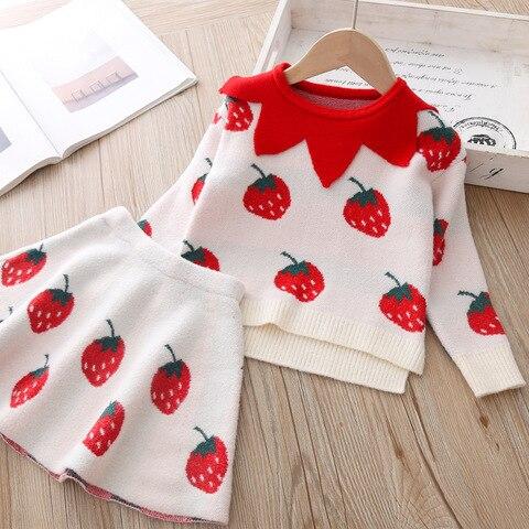 novo conjunto de roupas de bebe meninas camisola de malha roupas terno para meninas 2