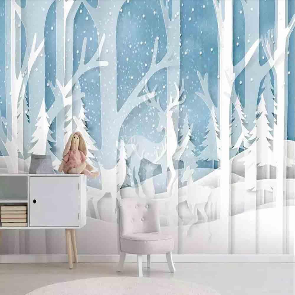 Milofi Custom 3D Wallpaper Mural Modern Minimalist Children's Room Forest Blue Full House Background Wall Decoration Wallpaper