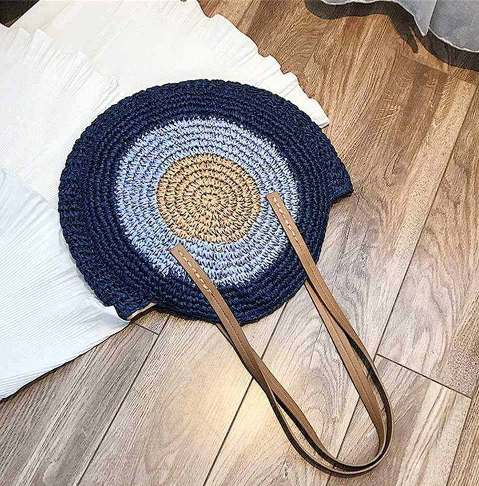 REALPERKY 女性の夏のラウンドわらバッグ女性手作り織布サークルビーチ籐バッグ女性ボヘミアンバリハンドバッグクロスボディ