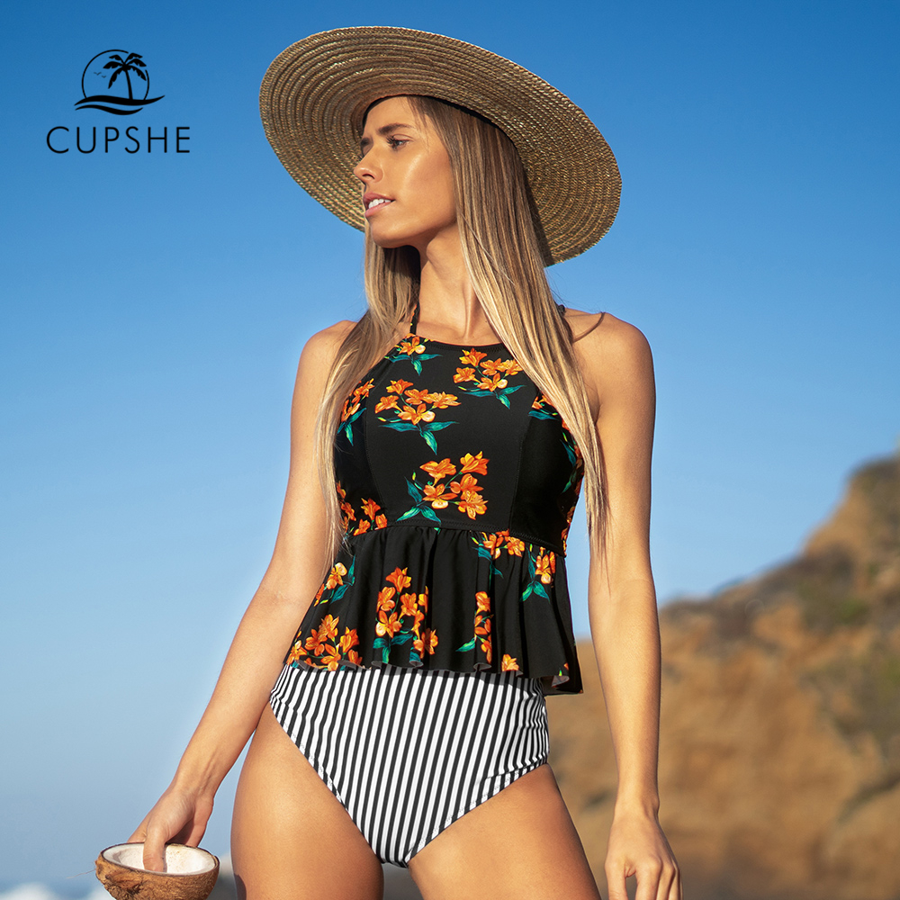 CUPSHE Black Floral Halter Tankini High-Waisted Set Sexy Bikinis Swimsuit Two Pieces Swimwear Women 2019 Beach Bathing Suits