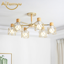 купить Lustre Wooden Chandelier For Living Room Iron Lampshade LED Chandelier Lighting Lustres Para Sala De Jantar Home Lamp дешево