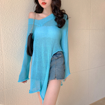 Knit Sweater Women Long Sleeve Split V-neck Loose Lrregular Thin Sweater Top Womens Sweaters Pullover Hollow out Sexy 886D cut out neck back knit top