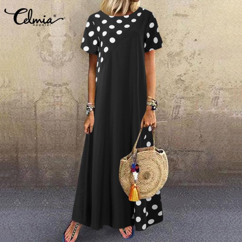 Celmia Women Bohemian Dot Printed Sundress Summer Long Dress Short Sleeve Casual Loose Beach Maxi Vestidos Plus Size Sarafans 7
