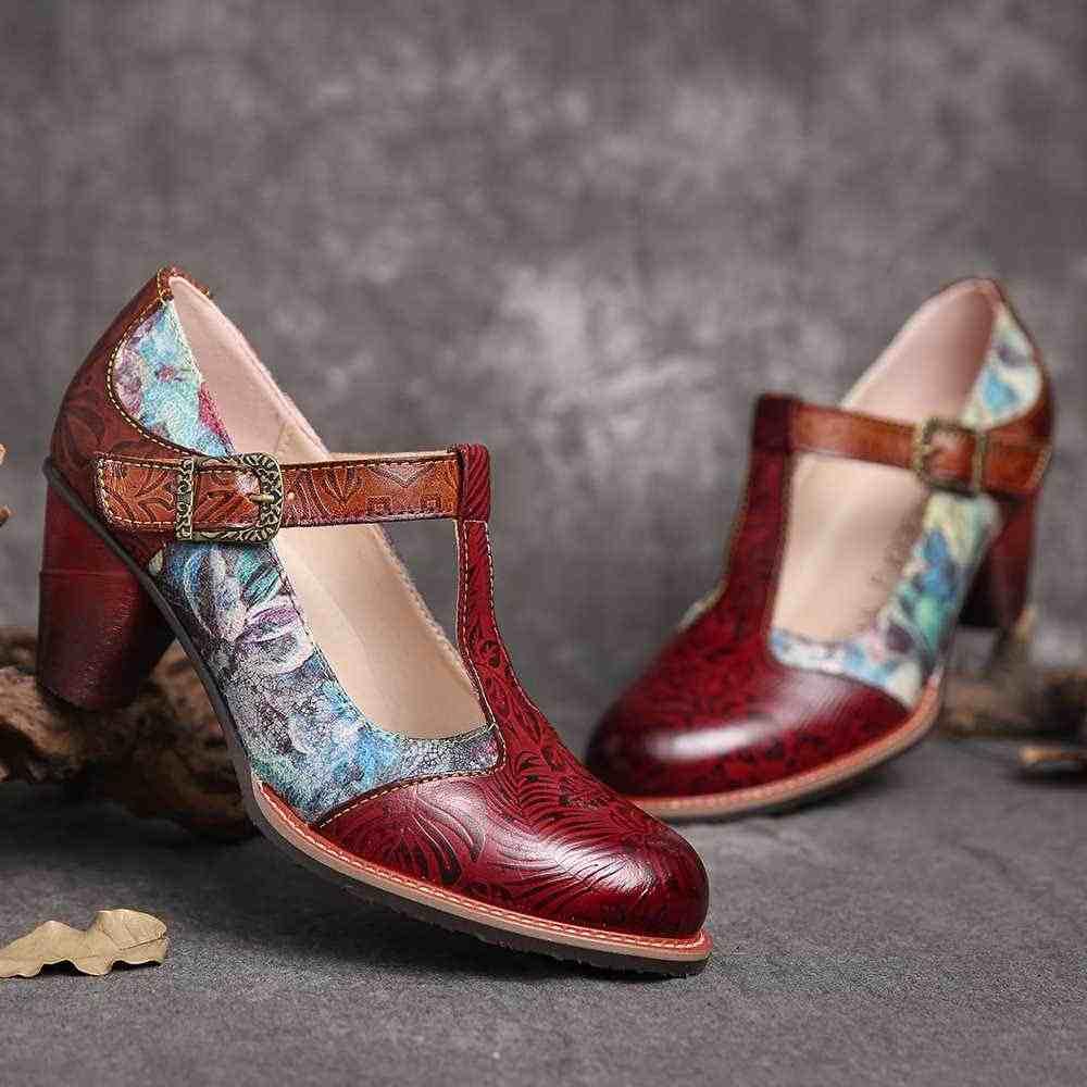 Socofy Retro Da Bơm Ngẫu Nhiên Hoa Nổi Lá Giữa Gót Da Thật Chính Hãng Da Bơm Nữ Giày Nữ Botas Mujer 2020