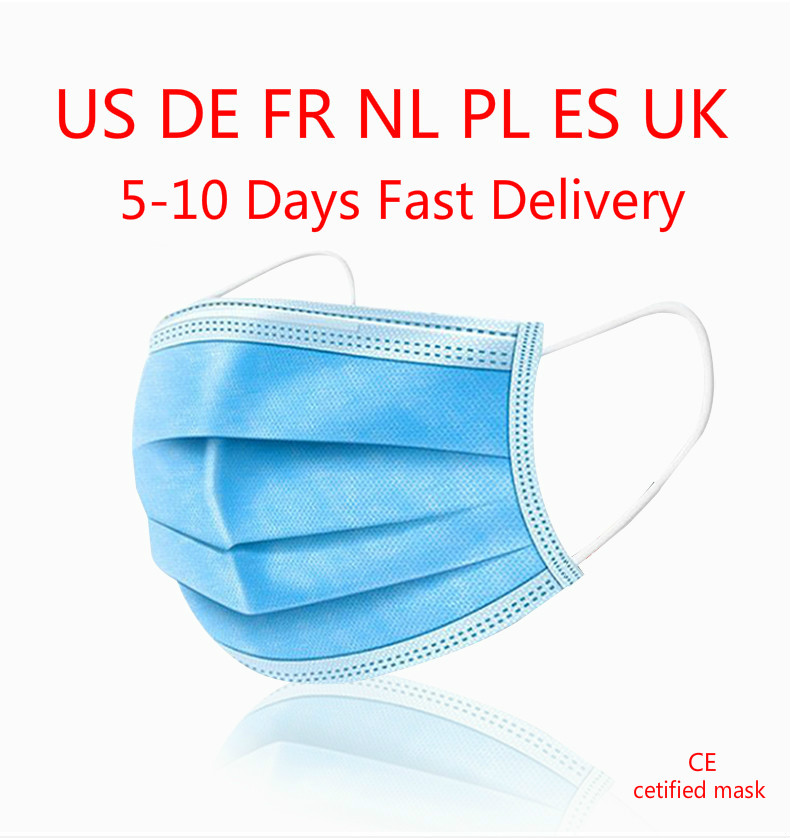 50pcs Masks Disposable Surgical Safely Mask PM2.5 Apply To Dust Adult Filter Masque Mouth# Disposable Face Masks 3-ply Mask Mask