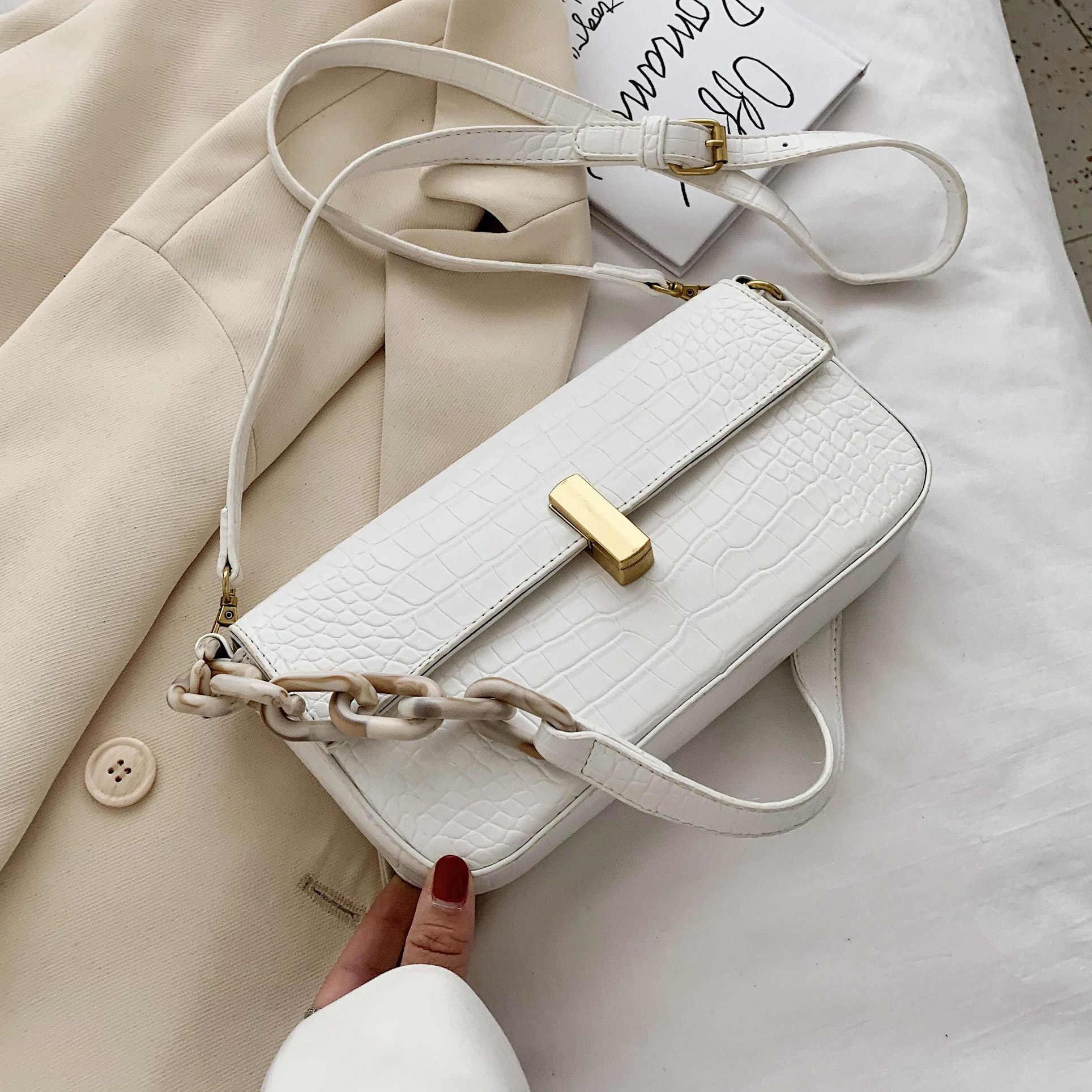 Acryl Kette Achselhöhle Taschen Kleine Umhängetaschen Für Frauen 2020 Sommer Einfache Schulter Handtaschen Weibliche Reise Cross Body Tasche