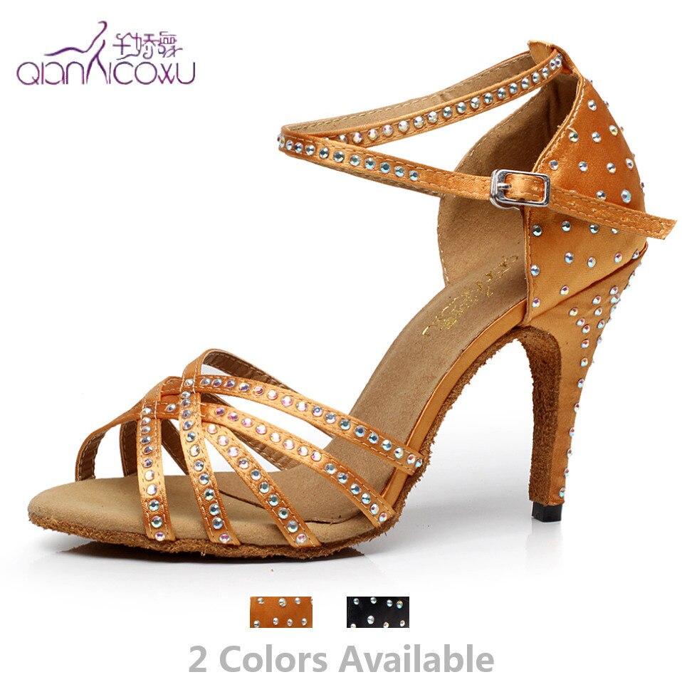Factory Direct Sale Salsa Jazz Ballroom Latin Dance Shoes For Dancing Women Practice Pole Latina Heel Summer Sandals Tan 7028