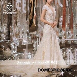 Image 5 - Swanskirt Fairy 3Dดอกไม้Mermaidงานแต่งงาน2020 VคอAppliques Backless Illusionเจ้าหญิงเจ้าสาวVestido De Novia F265