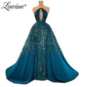 Image 3 - Wunderschöne Kristall Perlen Prom Kleider Abendkleider Saudi Arabisch EINE Linie Abendkleider Robe Soiree Dubai Kleider Frau Party Nacht