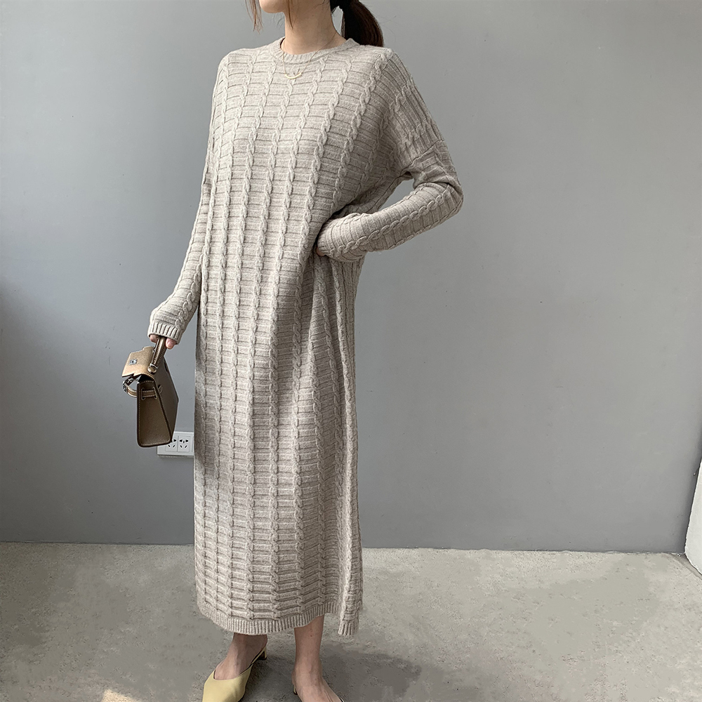 2019 Fashion Casual Dress Women Winter Oversize Pullover Long Sleeve O-Neck Solid Female Knitted Thick Sweater Dress Vestidos