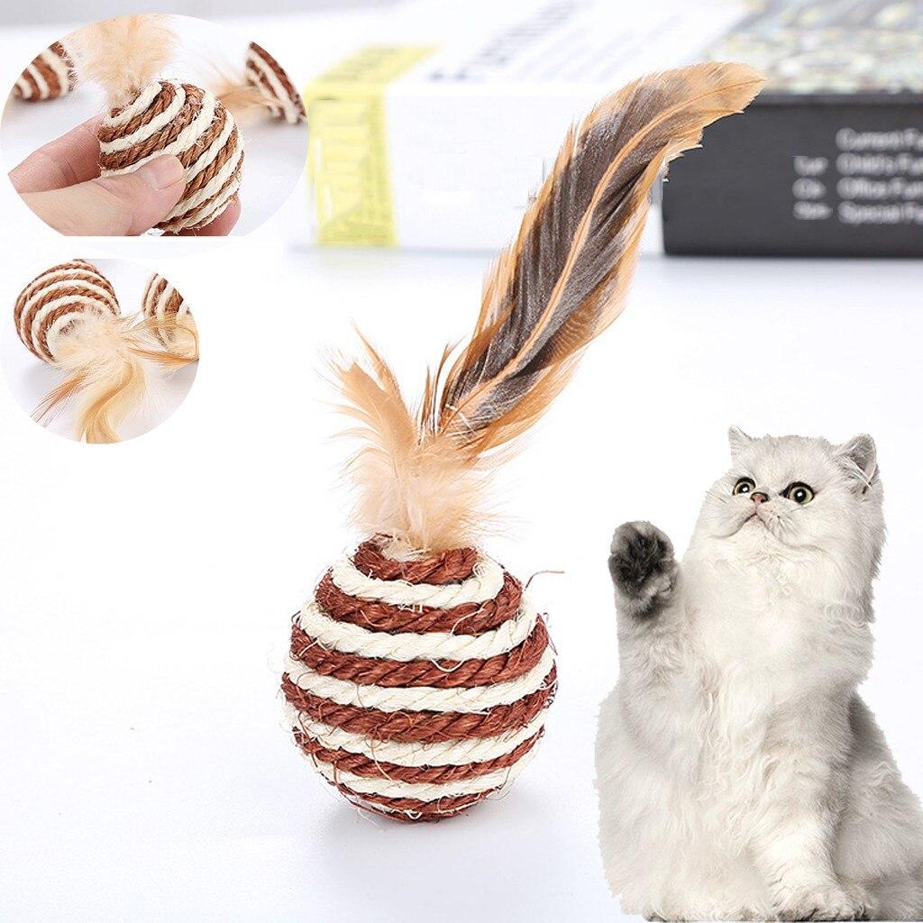 Tejido de cuerda Sisal para mascotas con plumas de gato, Bola de juguete de ratán, juguete interactivo para gatos, juguetes para masticar tejidos para gatos, traje de pelota # y30