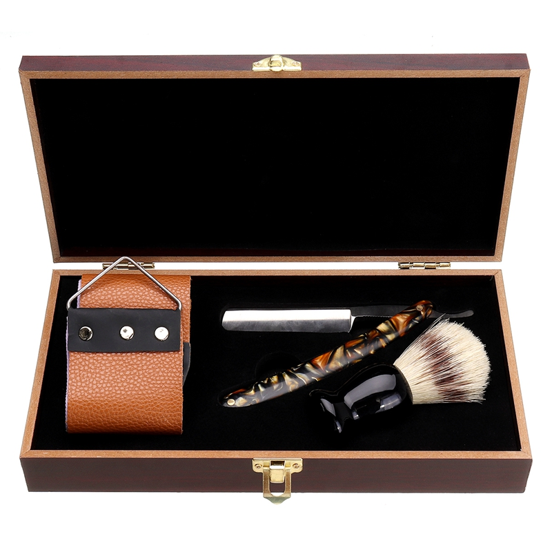 Classic Manual Shaver Set Folding Straight Shaving Razor Shaving Knife + Shaving Brush+ Strop Belt +Wooden Gift Box For Men