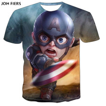 JOH FIERS Avengers 4 marvel doll T-shirt short-sleeved man 3DT popular logo iron captain America couple summer outfit