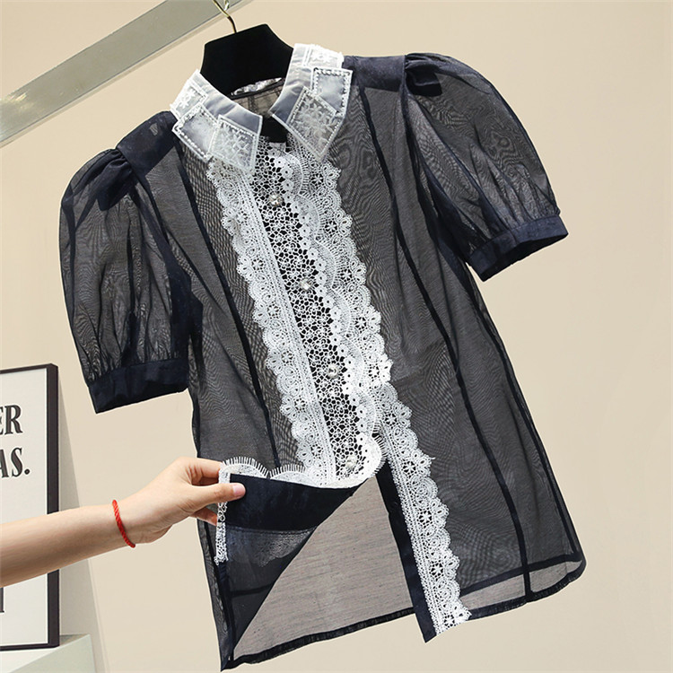 Lace Bubble Short Sleeve Chiffon Shirt Female Summer Top Shirt Womens Summer Blouse Gauze Loose Blouses Blusas Girls Black Tops