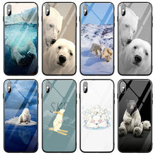 For iPhone 5 5S SE 8 7 6 6S Plus X XR XS 11 Pro Max 10 Coque Shell Tempered Glass Phone Case Cover Alaska Two White Bears(China)