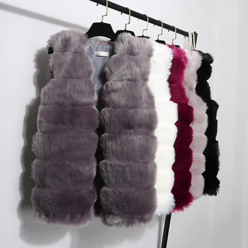 Haute qualité femmes gilet sans manches manteau de luxe fausse fourrure gilet chaud femmes manteau gilets hiver mode fourrures femmes manteaux veste