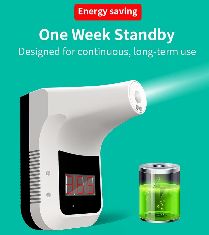 K3 manos libres f Digital termómetro infrarrojo no contacto frente termómetro de pistola para cuerpo pantalla LCD Oficina/Metro/uso en el hogar - 5