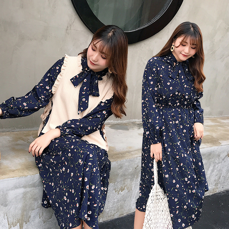 Large Size Dress New Style Korean-style Fat Mm Western Style Floral Dress Stand Collar Bow Long Sleeve Swinging Skirt 2015
