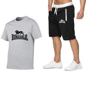 Image 4 - Summer Men Sportswear Sets Short Sleeve T shirts + Shorts New Fashion Casual Men Sets Shorts + 2 Piece T shirts