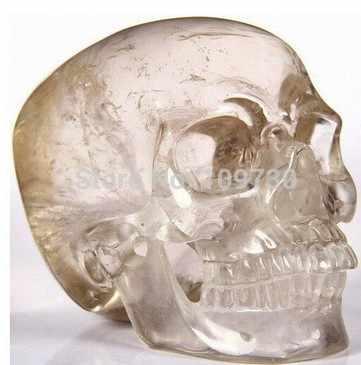 329 dumanlı kuvars oyma kristal kafatası, süper gerçekçi, şifa