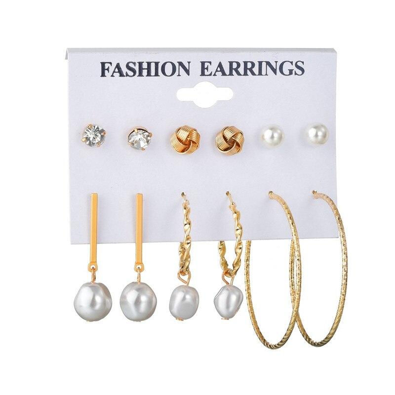 WUKALO Vintage Big Gold Circle Hoop Earrings For Women Clip on Earrings Eye Pearl Heart Earring Set  Brincos Statement Jewelry 1