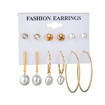 WUKALO Vintage Big Gold Circle Hoop Earrings For Women Clip on Earrings Eye Pearl Heart Earring Set  Brincos Statement Jewelry 1