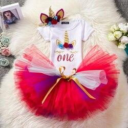 1st aniversário do bebê menina unicórnio tutu vestido infantil 1 ano vestidos de festa de aniversário baptismal três peças crianças macacão recém-nascido roupas