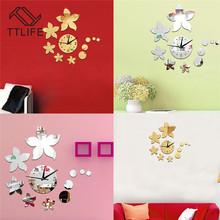 TTLIFE Bauhinia Flower Clock 3D Wall Decals Acrylic Removable TV Sticker Home Mirror Stickers Environmental Protection 20x20cm