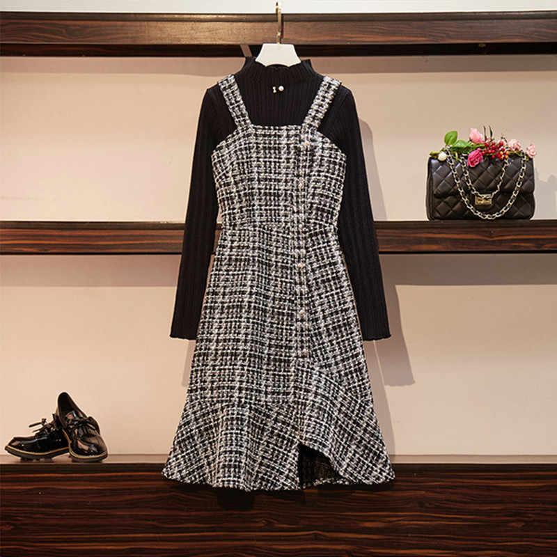 חרוזים סרוג צמרות ספגטי רצועת טוויד שמלת שתי חתיכה להגדיר נשים סתיו החורף חדש בת ים שמלת נשים חליפת ורוד שחור
