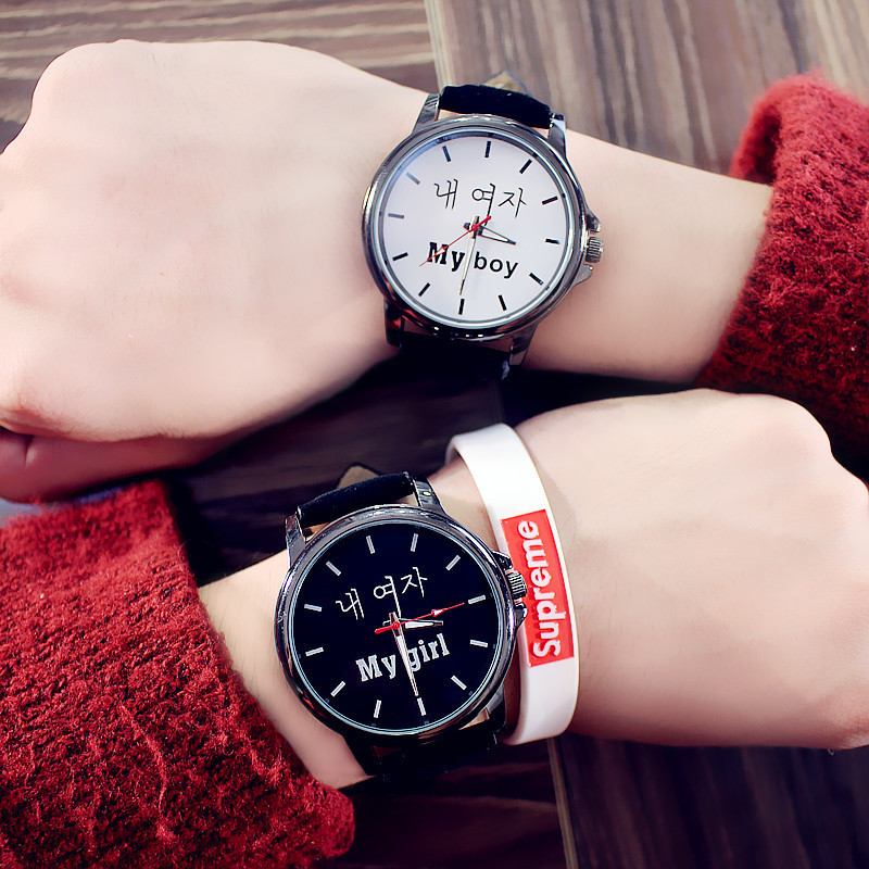 Couple Watches Fashion Lovers Hot Selling Quartz Analog Leather Band Wrist Watch Student Watch Dropshipping